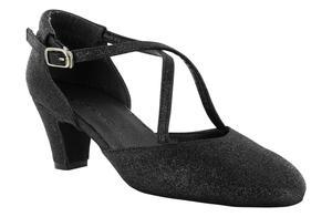 Dancin - Scarpe da ballo e studio broadway (cuccarini) in tessuto brillantinato nero tacco 5 cm
