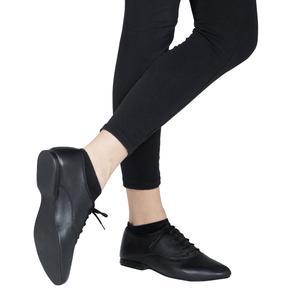 scarpe da ballo unisex oxford jazz in pelle nero stringata tacco 1 cm