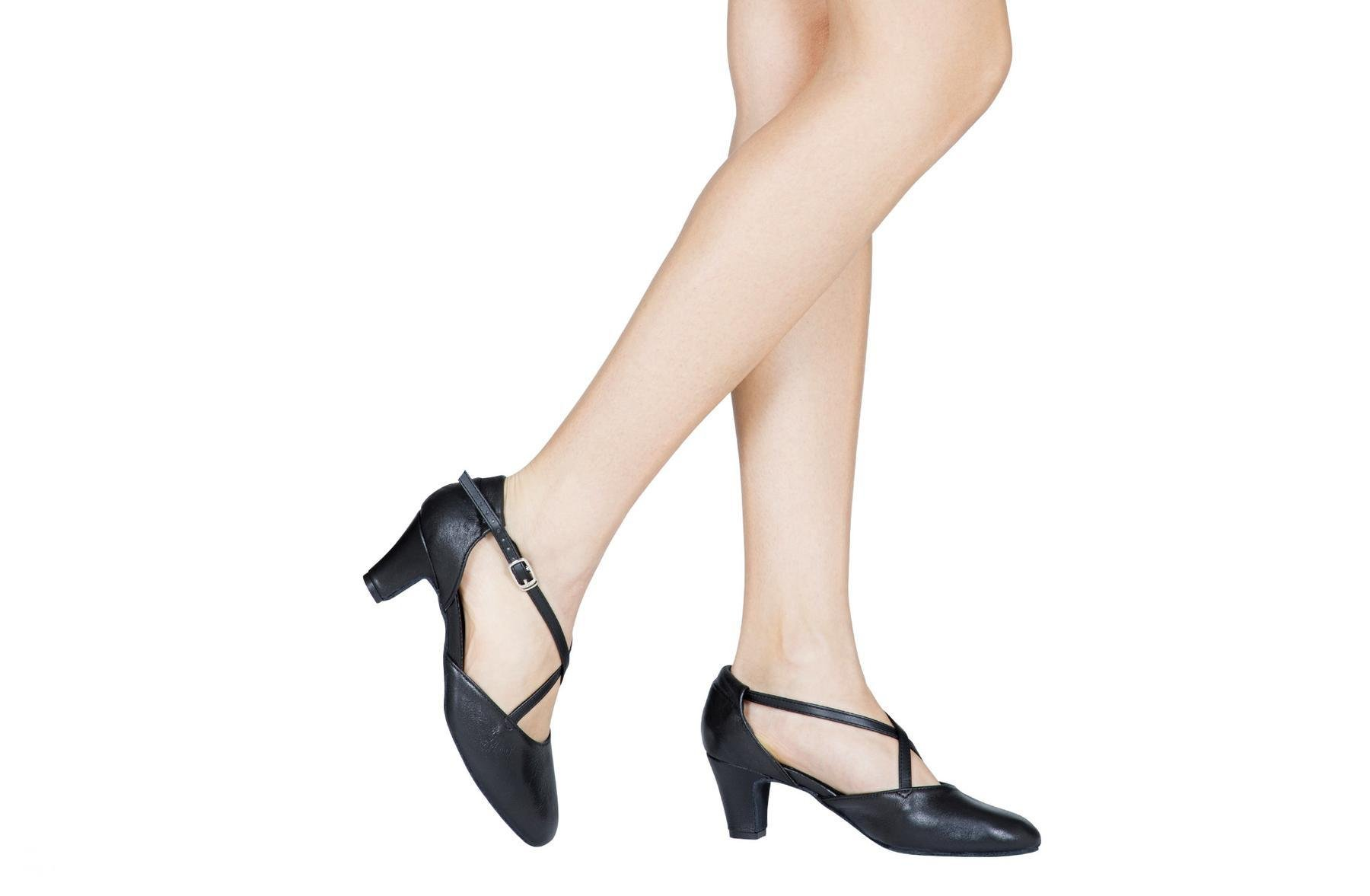 Dancin Scarpe da ballo e studio broadway (cuccarini) in pelle nero tacco 5 cm