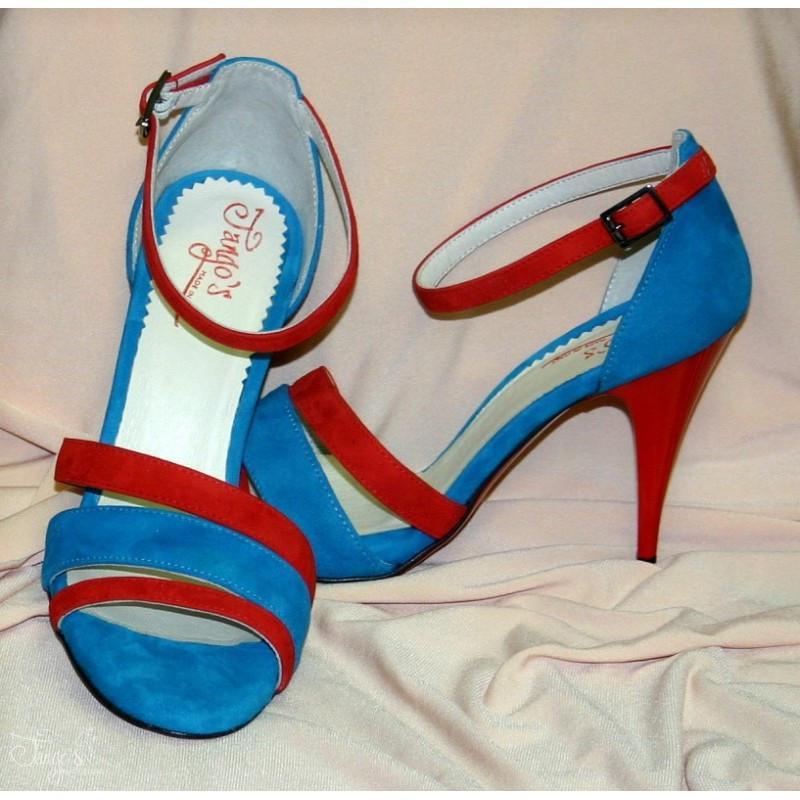 Sandalo La Plata azzurro e rosso