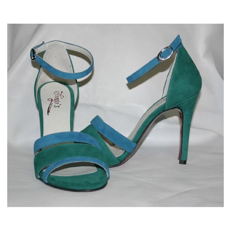 Sandalo La Plata azzurro e verde