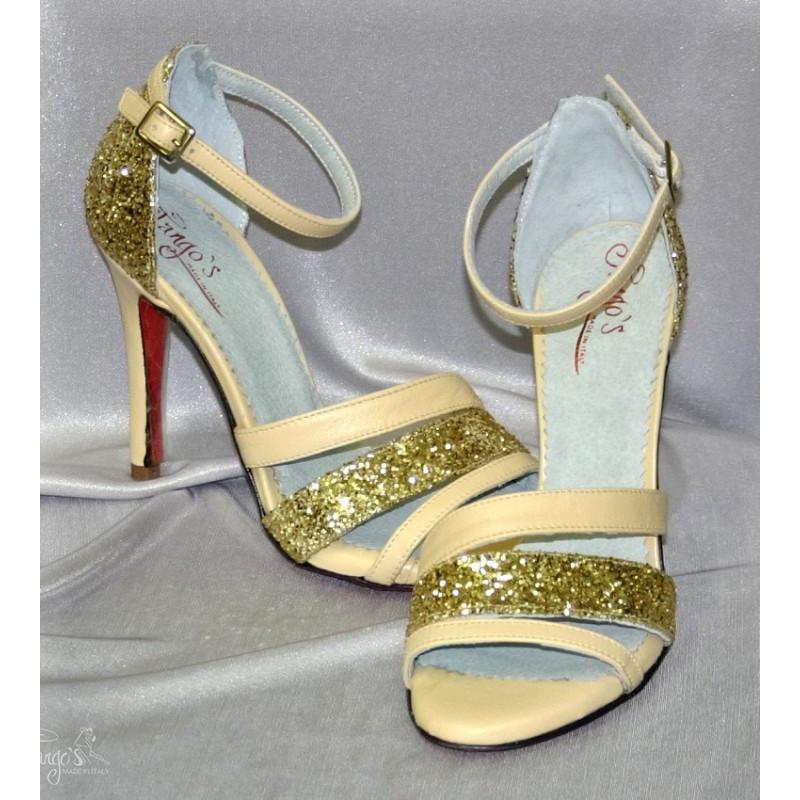 Sandalo La Plata beige e glitter